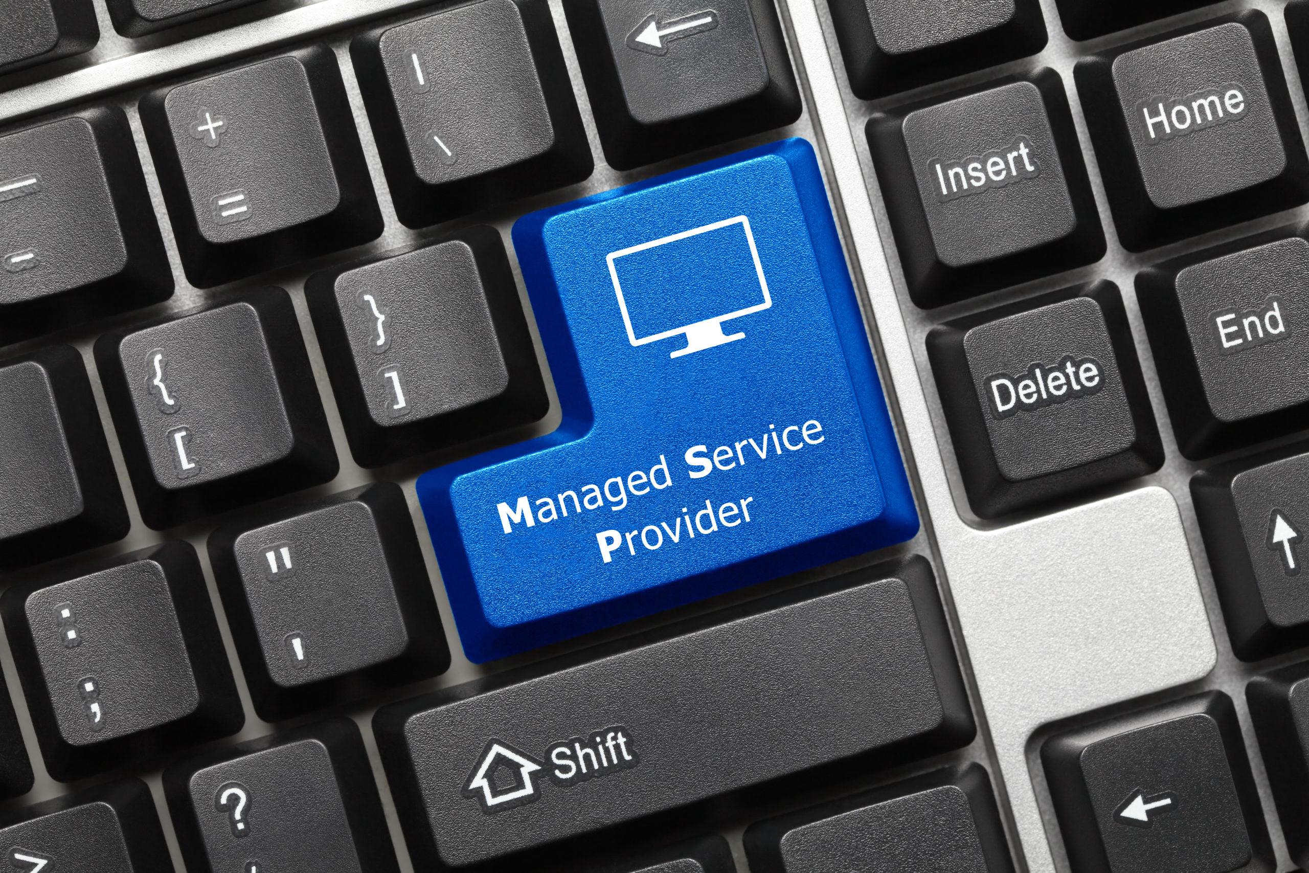 Close up,view,on,conceptual,keyboard, ,managed,service,provider,(blue